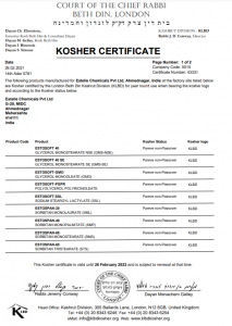 KOSHER CERTIFICATE 2021-22